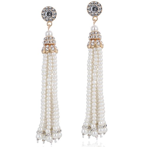 (BABEYOND 1920s Flapper Imitation Pearl Earrings 20s Great Gatsby Pearl Tassel Earrings Vintage 20s Flapper Gatsby Accessories (Gold))
