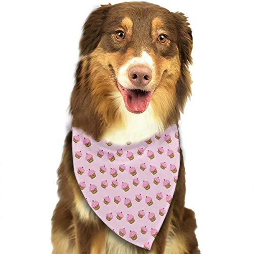 Smile Service Pet Pink Cupcakes Wallpaper Festive Accessory for Puppies for Dogs,Cats Scarf ()