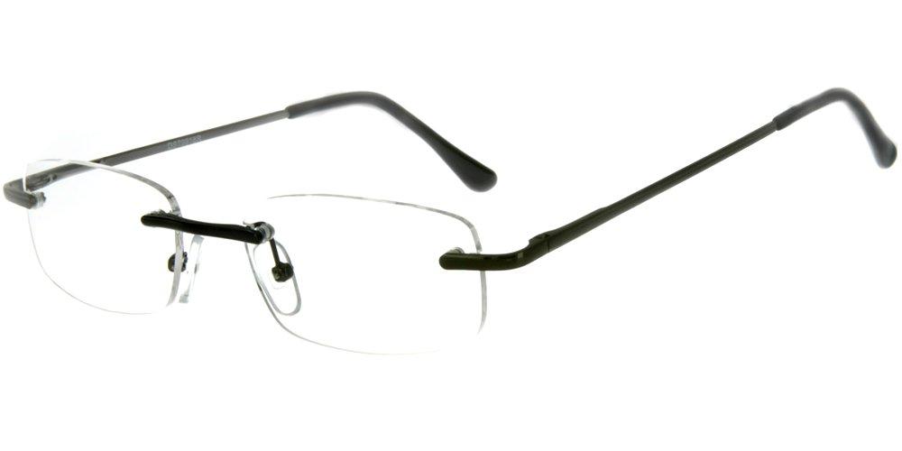 ''Simplicity'' Slim, Semi-Rimless Reading Glasses for Men and Women (Gunmetal +2.50)