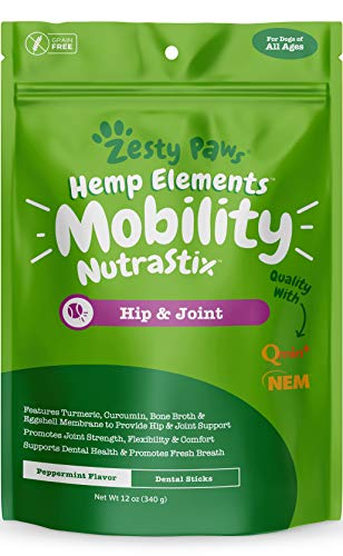 Hip & Joint Support Dental Sticks for Dogs - with Hemp, Chondroitin, Turmeric Curcumin & Bone Broth - Hips & Joints + Cartilage Health - Mobility + Dog Teeth Cleaning & Tartar Control Treats - 12 OZ