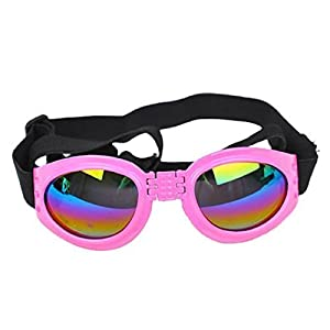 Pet Dog Cat UV Protective Foldable Sunglasses Lenses Eye Wear Protection with Adjustable Strap (Pink) by ZGY