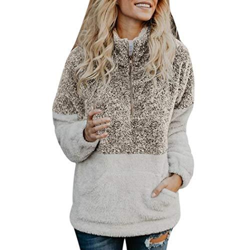 Oksale Fashion Women Velvet Long Sleeve Zipper Turtleneck Pockets Tops Sweater Blouse (Coffee, M)