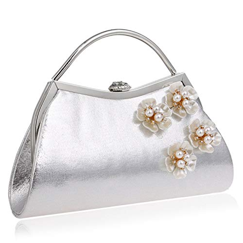 - Ladies fashion flower evening bag,Metal Pearl Detachable chain Banquet clutch For wedding Party Dating Gown-silvery 23x17x5cm(9x7x2inch)