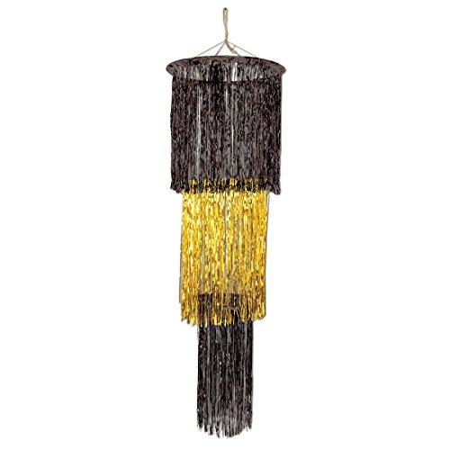 Gold Fringe Chandelier - Gold and Black Three-Tier Fringe Chandelier,
