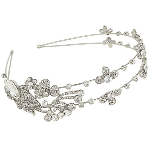 EVER FAITH® Bridal Flower Clover Teardrop Clear Austrian Crystal Headband