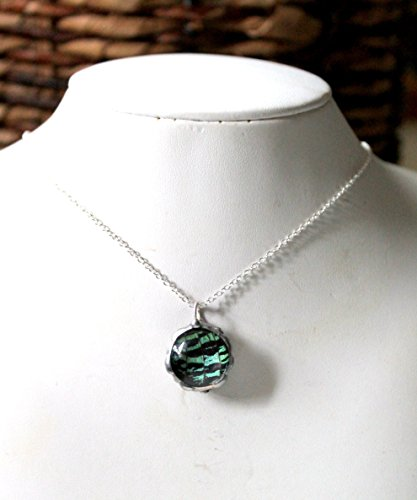 Green and Black Round Moth Wing Necklace