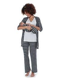 Cindy 4-pc. Nursing PJ Set with Gift Bag - L - Charcoal Stripes
