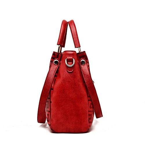 Red Penao cuero tamaño cuero dama de bandolera messenger Relieve 22cmx10cmx22cm portátil moda solo wqg71w