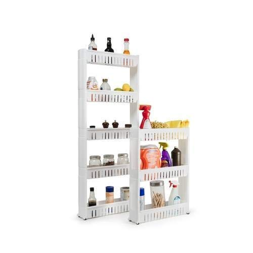 MareHome Laundry Room Organizer and Slim Storage Cart - Mobile Wheels Shelf with 3 Tiers Skinny Thin Shelves for Narrow Slim Space Between Washer and Dryer Perfect (3 Tier)