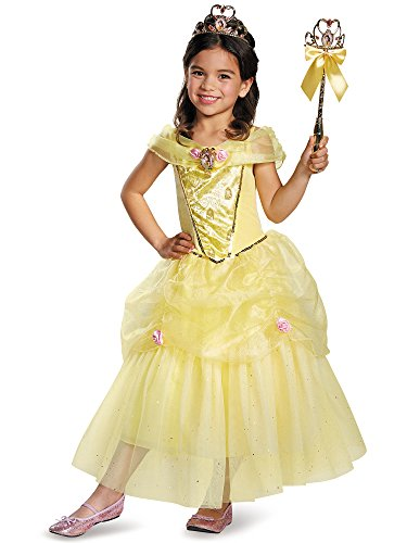 [Disguise Belle Deluxe Disney Princess Beauty & The Beast Costume, X-Small/3T-4T] (Beauty And The Beast Costume Belle)