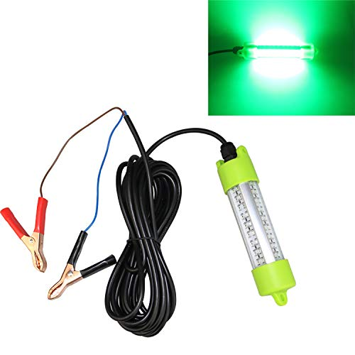 Lightingsky 12V 40W 4000 Lumens LED Submersible Fishing Light 4 Sides Underwater Fish Finder Lamp with 5m Cord (Green)