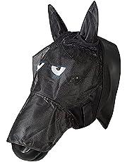 PFIFF 101013 Flygmask ansiktsmask med motiv för hästar, flygskydd, Cob/Vollblut/M, svart-grå