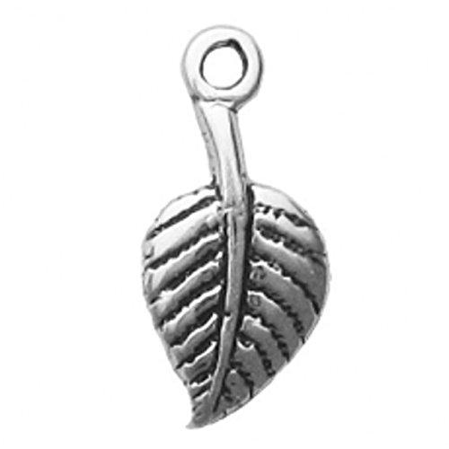 Aspen Leaf Beads (Sterling Silver Mini Aspen Leaf Dangle Charm Bead For Bead Charm Bracelet)