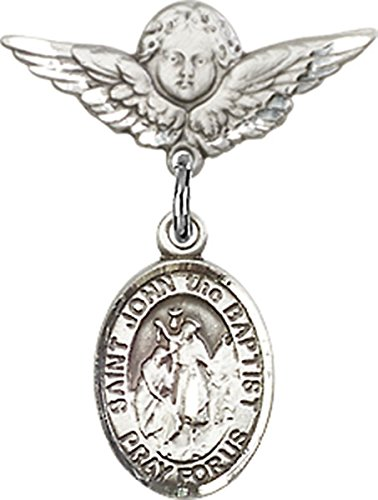Sterling Silver Baby Badge Cherub Angel Pin with Saint John the Baptist Charm, 3/4 Inch