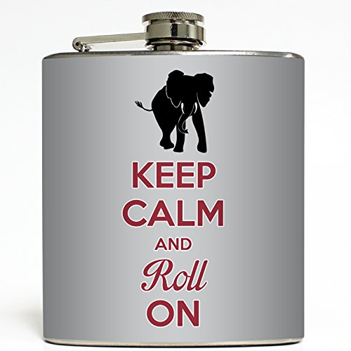 Keep Calm and Roll On - Alabama Flask - Liquid Courage Flasks - 6 oz. Stainless Steel Flask by Liquid Courage Flasks