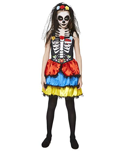 Girl's Day of The Dead Costume - for Halloween Party Accessory - Medium Black -