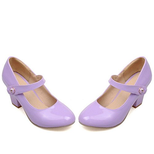 Jane Escarpins Bloc pointure Femmes RAZAMAZA Mary Talons Chaussures Violet qWw7XWFY6
