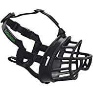 Baskerville Ultra Muzzle, dog muzzle to prevent biting and chewing, humane dog muzzle for large dogs, ideal for pit bulls, boxers, german shepherd, doberman, golden retriever, labrador retriever and more, Black
