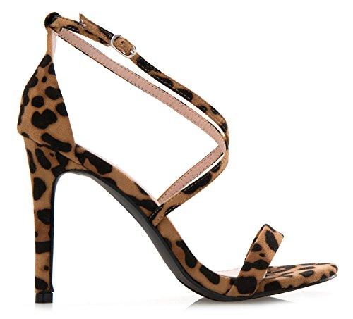 Sandals Elegant Dress Leopard Cross K Sexy High Wedding Strap Heel Women's OLIVIA Comfort qZ0fxnT