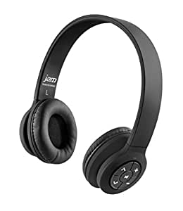 JAM Transit Wireless Bluetooth On-Ear Headphones, 30ft Range, Superior Bass, Big Sound, No Cords, Rechargeable Battery, Comfortable Fit, Perfect for Travel, Car, Kids, HX-HP420BK Black