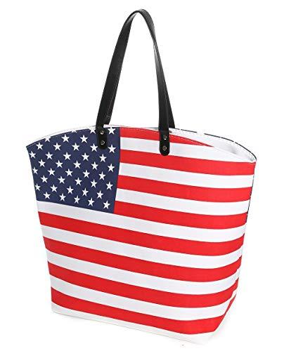 (E-FirstFeeling Large American Flag Tote Bag Canvas USA Flag Bag Sports Tote Bag Stars Stripes Utility Tote Travel Beach Bag for Women (USA)