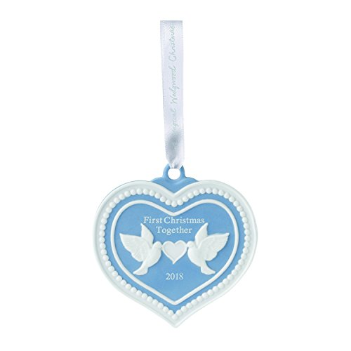 - Wedgwood 40032823 2018 First Christmas Together Doves Heart Ornament, Blue