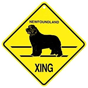 SteelLtd Newfoundland Xing Caution Crossing Sign Dog Gift 2