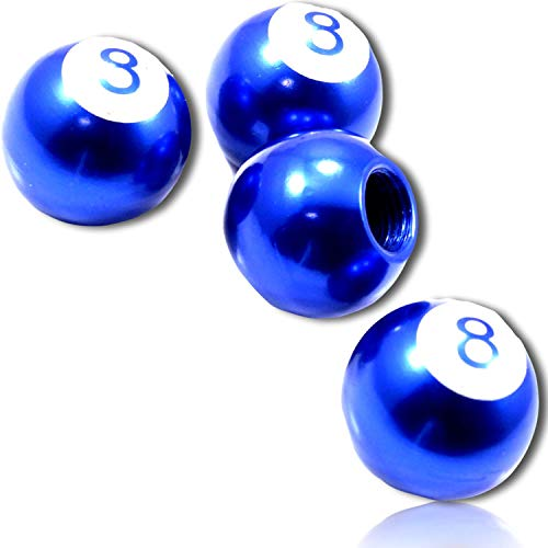 (4 Count) Custom Tire Wheel Rim Valve Stem Dust Cap Cover Seal w/ Easy Grip Texture, Made of Rust Proof Aluminum Metal w/ Bar Games Billiard Numerical Number Eight 8 Ball {Blue, White} + Certificate ()