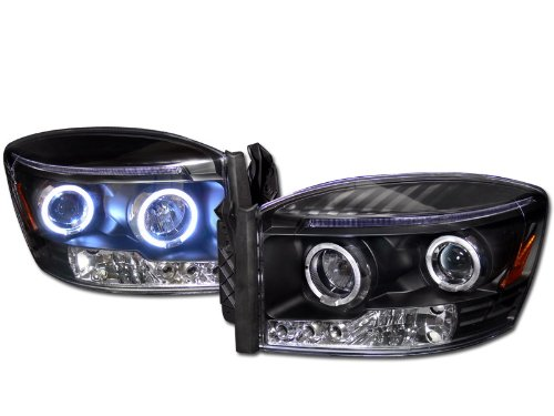 R&L Racing Black Drl Led 2Halo Rims Projector Head Lights Lamps Signal 2006-2009 Dodge Ram