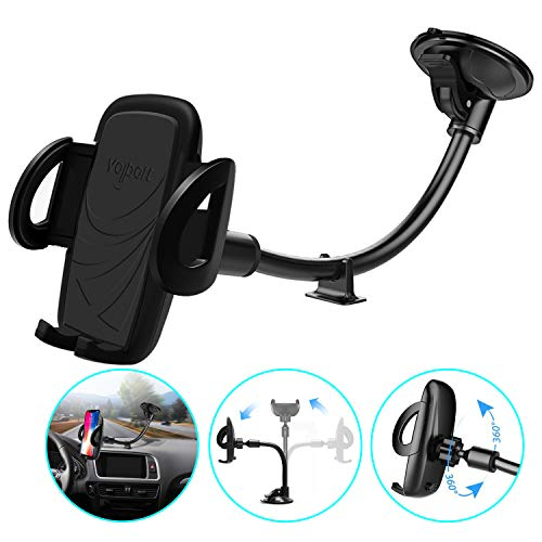 Windshield Phone Mount, Volport Universal Windscreen Dashboard Long Arm Window Car Cradle Suction Cup Phone Holder for iPhone Xs Max XR X 8 8 Plus 7 6 6S,Samsung Galaxy J7 S9 S8 S7, Google Pixel