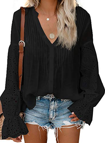 CANIKAT Women's Fashion Fall Bell Long Sleeve Button Down Tops Split Neckline Lace Hem Basic Tee Shirts Chiffon Flowy Blouses