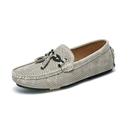 Slip Cuero HUAN Azul Gris Casual B On Caqui de Verano Planos Ahuecado Zapatos Zapatos de Hombre Moda Mocasines Kr8tr