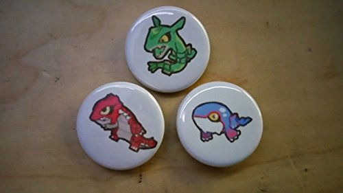 5x Pokemon Collectible 1'' inch Buttons - Rayquaza Groudon Kyogre Evolution Set - Custom Made - Pin Back - Gift Party Favor by Legacy Pin Collection