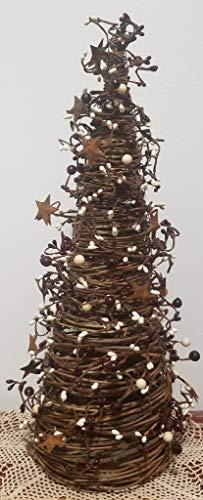 - KMI Mixed Berry Cone Tree with Rusty Stars 21 in High (6.25 in Dia), Burgandy, Cream
