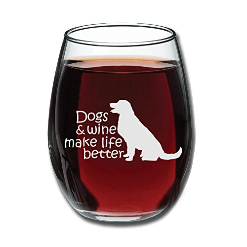 Dogs & Wine Make Life Better | Perfect Birthday Gift For Veterinarian, Dog Mom, Dog Dad, Animal Rescue or Vet Tech | Dog Lover Gifts For Men or Women | 15 Ounce Stemless Wine Glass by Gelid