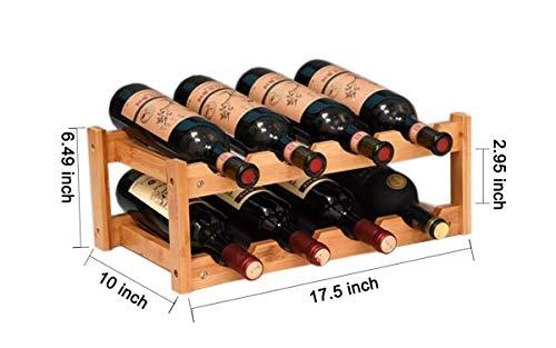 kework 8 Bottles Wine Rack, 2 Tier Nature Bamboo Wine Display Rack, Tabletop Wine Rack, Desktop Countertop Free Standing Wine Storage Shelf (8-Bottle)