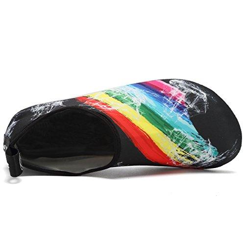 Zapatos De Agua Cior Calcetines De Aqua Aqua De Secado Rápido Sin Cordones Slip-on Para Hombres Mujeres Niños Rainbow