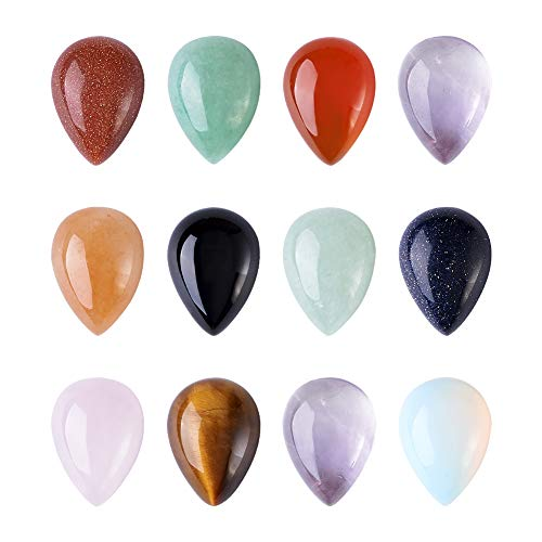 (Craftdady 50 Pieces Mixed Stone Water Drop Chakra Healing Gemstone Cabochons Beads Charms Supplies for Handmade DIY Jewelry Making)