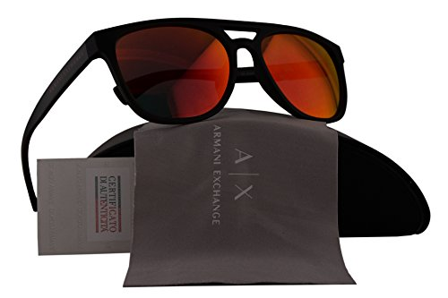 Armani Exchange AX4032S Sunglasses Gray Transparent w/Orange Mirror Lens 81426Q AX - Sunglasses Aviator Armani Exchange Rectangular
