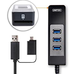 UNITEK 3-in-1 USB 3.0 hub and SD card reader with OTG converter is designed especially for Apple Mac books, Ultrabooks, tablets, laptops and any PCs with USB port. It is powered by USB 3.0, this hub provides quick data rates of up to 5.0Gbps,...