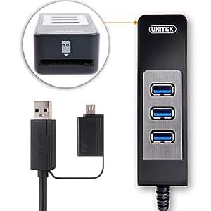 UNITEK Multi-in-1 USB 3.0 3-Port Hub and Micro SD Card Reader + OTG Adapter for Apple MacBook, Microsoft Surface Pro, Ultrabooks Laptops PCs with USB Port, OTG Smartphone Tablet
