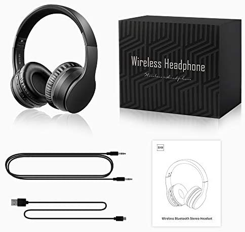 Ifecco Bluetooth Headphones, Bluetooth Foldable Over-Ear Headsets with Micro Support SD/TF Card Compatible with Bluetooth-Enabled Devices, Black