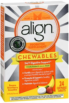 Align Probiotic Supplement Chewable Tablets Banana Strawberry Smoothie - 24 ct, Pack of (Chewable Banana)