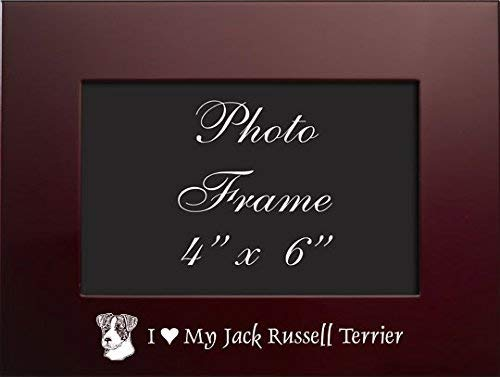 (4x6 Brushed Metal Picture Frame-I love my Jack Russell Terrier-Burgundy)