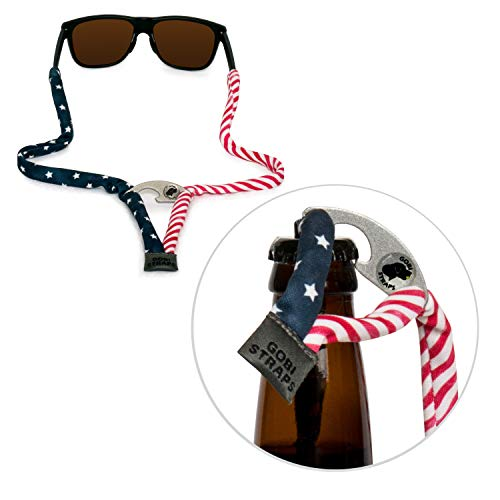 Eyewear American - Gobi Straps - Sunglass Straps with Built-In Bottle Opener   Quick Drying Eyewear Retainers   Patriotic; Red, White & Blue; American Flag