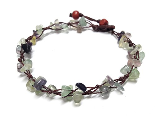 Purple Green Fluorite Color Bead Anklet Beautiful 10 Inches Handmade Stone Anklet Fashion for Women