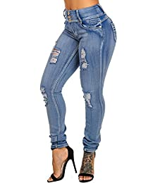 Womens Sexy Butt Lifting Levanta Cola Stretchy High Waist Ripped Colombian Skinny Jeans 10866L