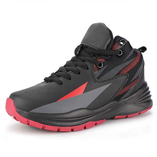Hawkwell Kids Casual Outdoor Basketball Shoes(Little Kid/Big Kid),Black Red PU,4.5 M US Big Kid