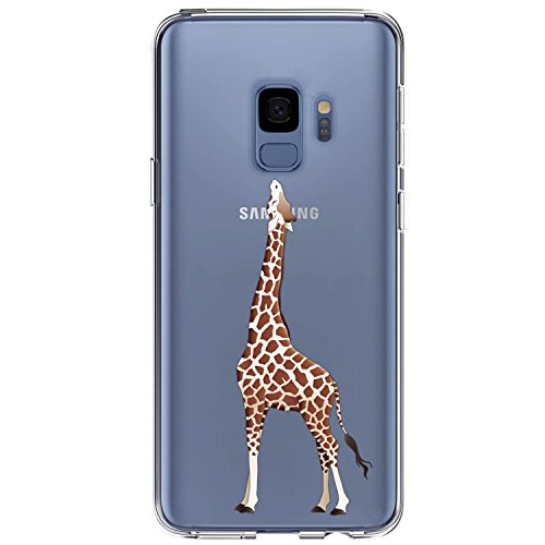 JAHOLAN Compatible Galaxy S9 Plus Case Cute Design Clear Case Soft TPU Bumper Rubber Silicone Cover Phone Case for Samsung Galaxy S9 Plus (S9+) - Eating Giraffe
