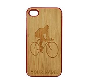 SudysAccessories Personalized Customized Custom Cyclist Man On Wood Engraved Red iPhone 4 Case - For iPhone 4 4S 4G - Designer Real Bamboo Back Case Verizon AT&T Sprint(Send us an Amazon email after purchase with your choice of NAME)